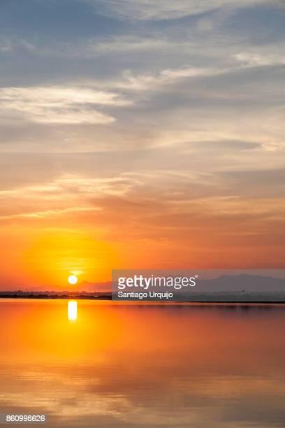 Sunset over a salt pan