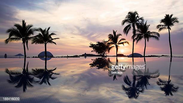 Sunset Over a Tropical Infinity Pool