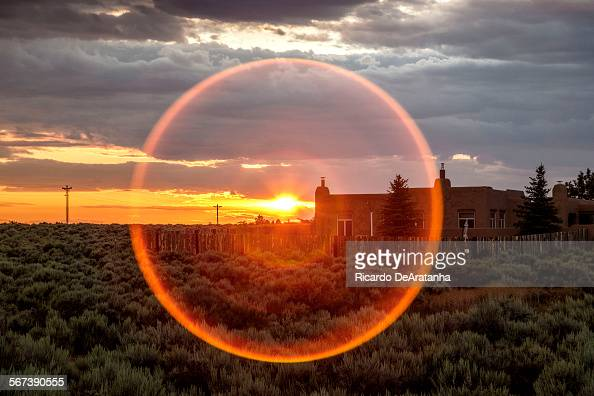 MEXICO JULY 17 2014 Sunset over adobe home Taos July 17 2014 Photo to illustrate a travel story about getting off the grid in Taos which has long...