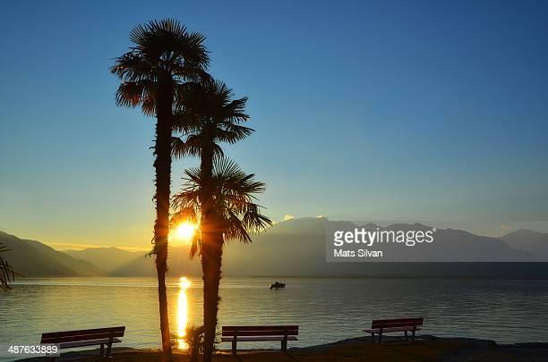 Sunset over an alpine lake