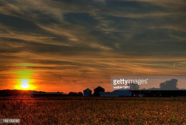 Sunset over an autumn field with farm