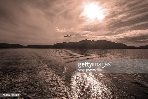 Sunset over Arran, firth of the clyde : Stock Photo