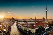 panorama view on sunset over berlin with television tower and  cathedral