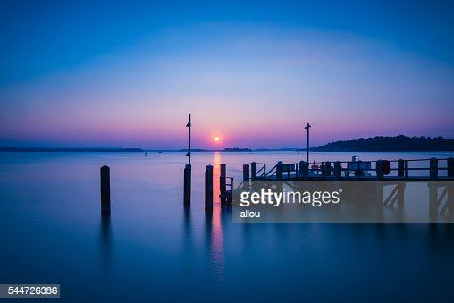 Sunset over Boats in Poole Harbour : Stock Photo