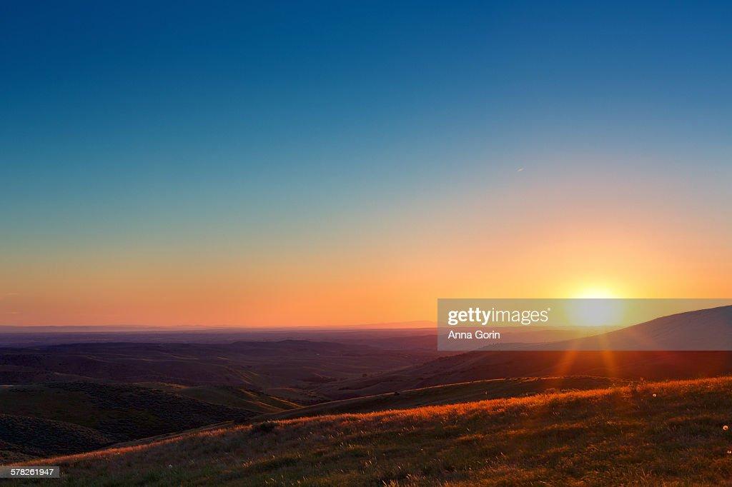 Sunset over Boise Idaho foothills, summer