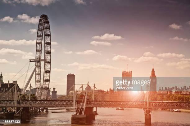 Sunset over bridge and London Eye