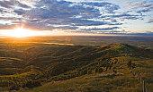 Sunset over canterbury plains