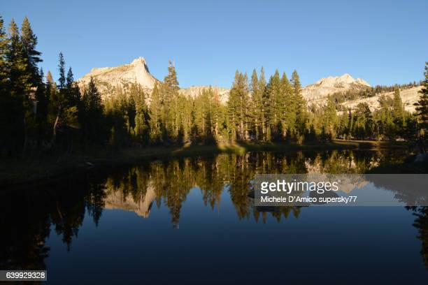 Sunset over Cathedral Lake with mirror-like reflection.