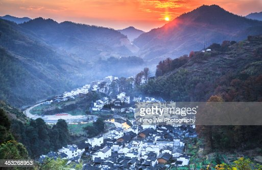 Sunset Over Changxi Village, Wuyuan, Jiangxi China