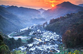 Sunset Over Changxi Village, Wuyuan, Jiangxi China