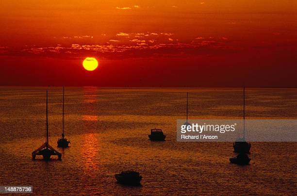 Sunset over Corio Bay on the western side of Port Phillip Bay in Geelong.
