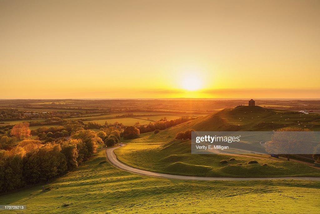 Sunset over English Countryside : Stock Photo