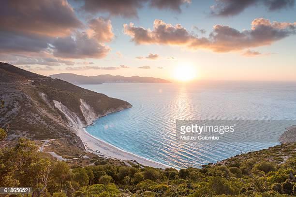 Sunset over famous Myrtos beach. Kefalonia, Greece