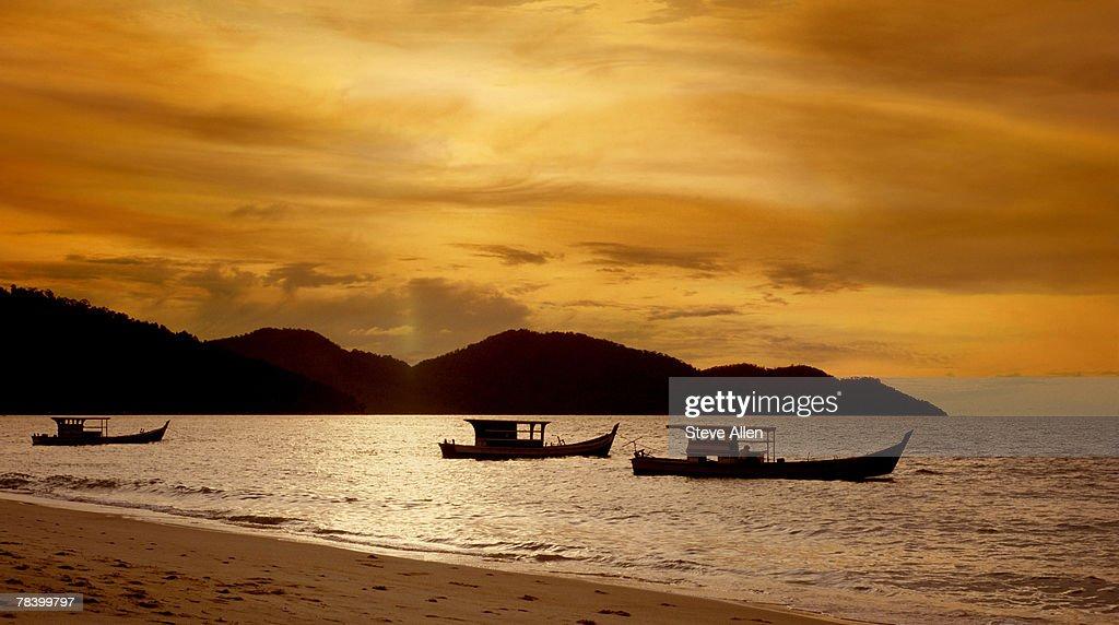 Sunset over fishing boats, Penang : Stock Photo