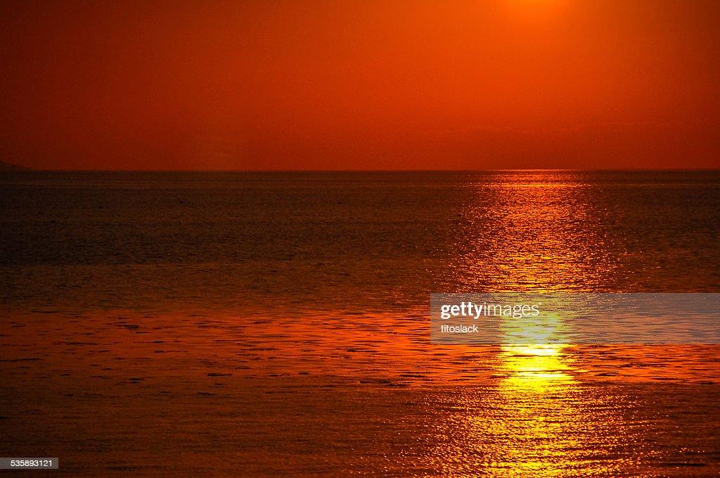 Coucher de soleil sur la baie de Galway, en Irlande : Photo