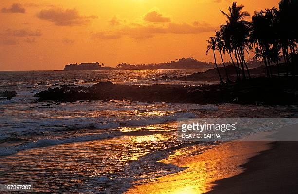 Sunset over Gold Coast between Cape Coast and Elmina Ghana