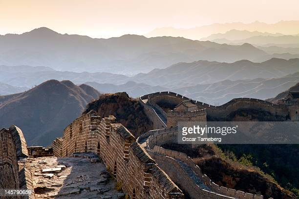 Sunset over Great Wall of China