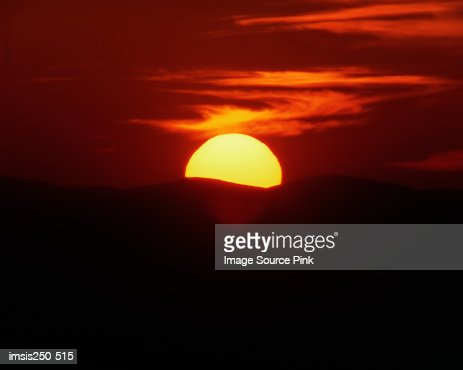 Sunset over hills : Stock Photo