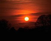 Sunset over hills
