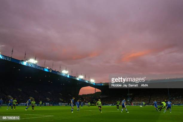Sunset over Hillsborough the home stadium of Sheffield Wednesday during the Sky Bet Championship match between Sheffield Wednesday and Huddersfield...