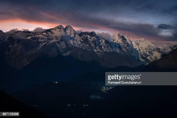 Sunset over Himalaya mountains, Tengboche village, Everest region, Nepal