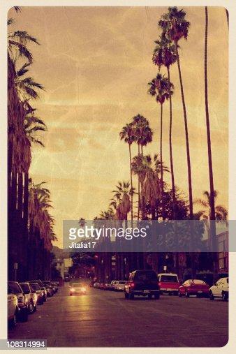 Sunset Over Hollywood Hills - Vintage Postcard