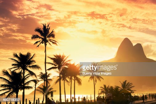 Sunset over Ipanema beach