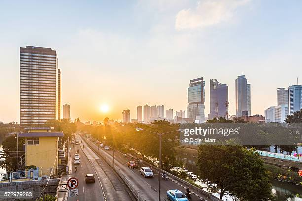 Sunset over Jakarta, Indonesia capital city