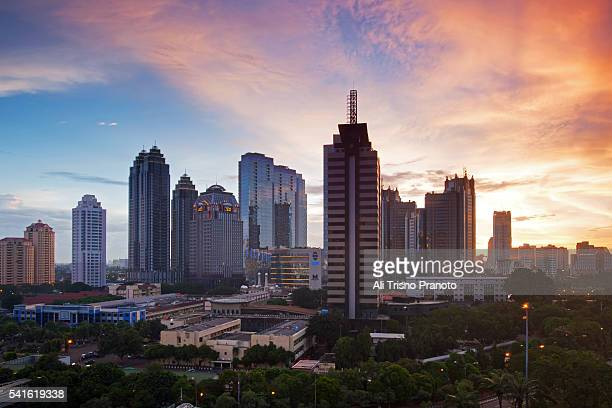 Sunset over Jakarta's Central Business District. Jakarta Skyline. Jakarta, Indonesia.
