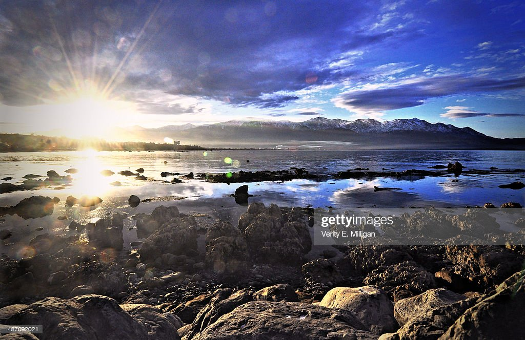 Sunset over Kaikoura in New Zealand