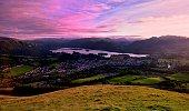 Pink sunset skies over Keswick