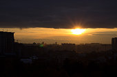 Sunset over Kiev or Kyiv - Ukraine. Panorama.