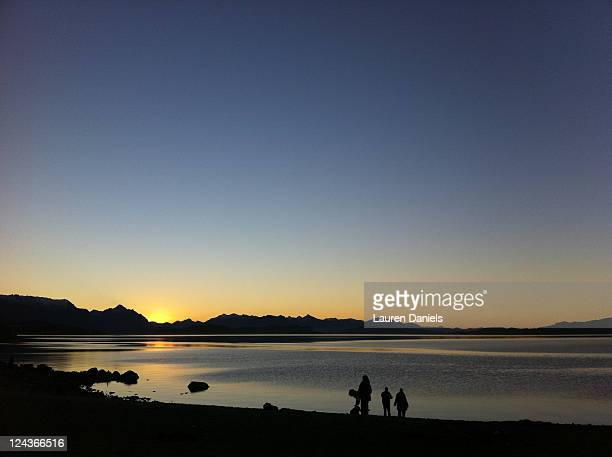 Sunset over lake in Bariloche