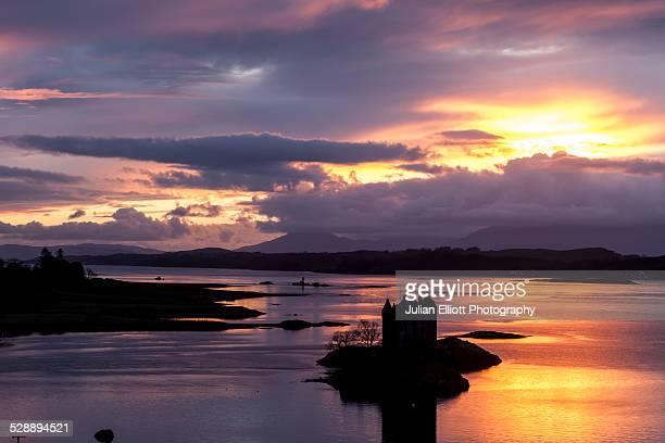 Sunset over Loch Linnhe and Castle Stalker