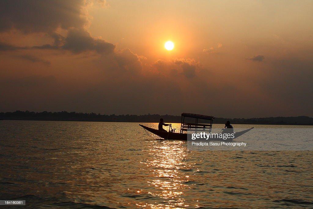 Sunset over Maithon lake