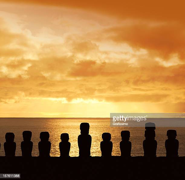 Sunset over Moai at Ahu Tongariki Easter Island Chile