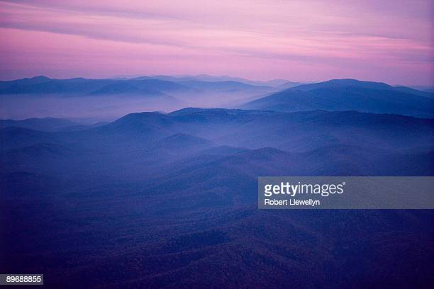 Sunset over mountains in Virginia