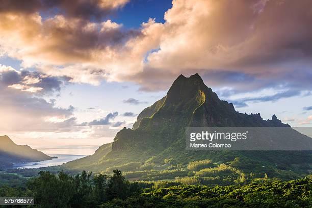Sunset over Mt Rotui, Moorea, French Polynesia