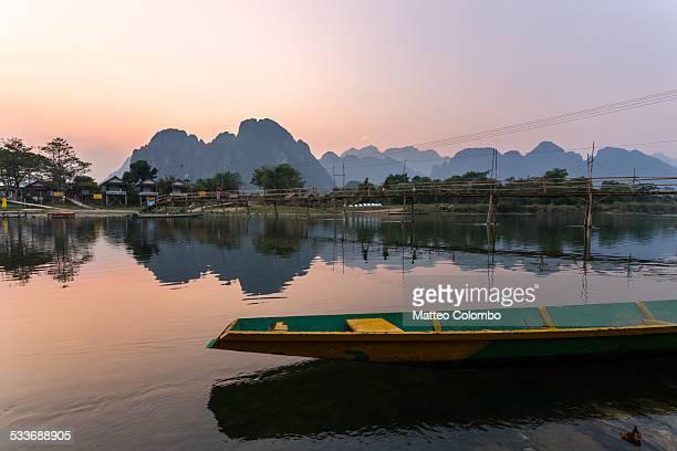 Sunset over Nam Song river, Vang Vieng, Laos