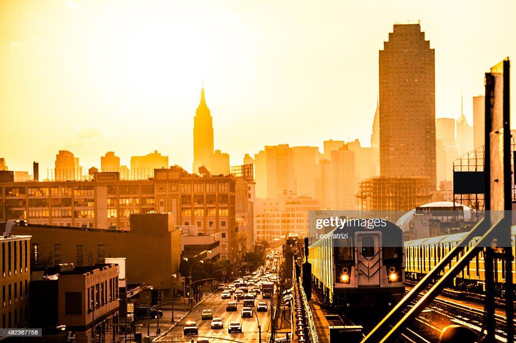 Sunset over New York skyline : Stock Photo