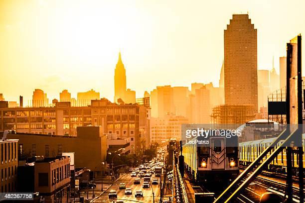 Atardecer en edificios de Nueva York