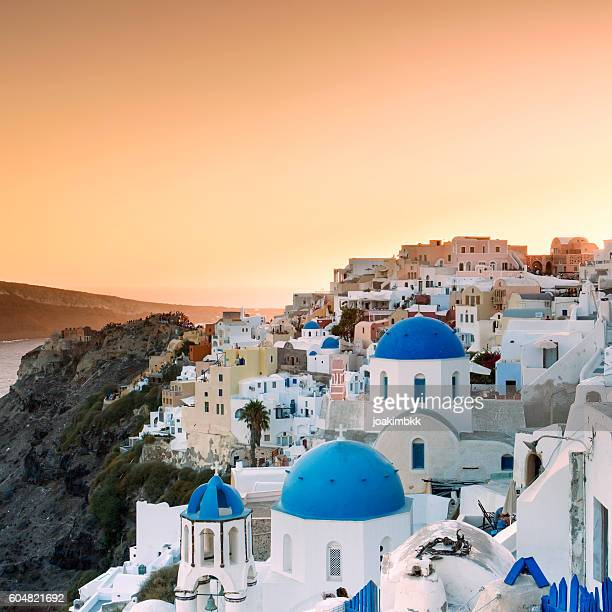 Sunset over Oia village in Santorini island of Greece