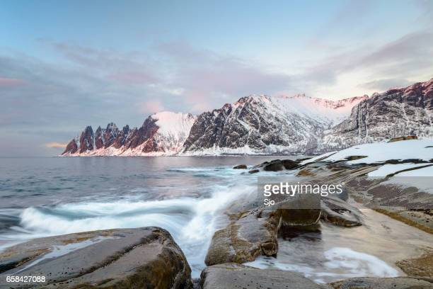 Sunset over Okshornan mountain range in Northern Norway in winter
