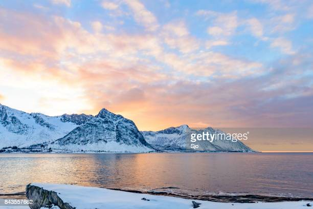 Sunset over Okshornan mountain range in Northern Norway in winter