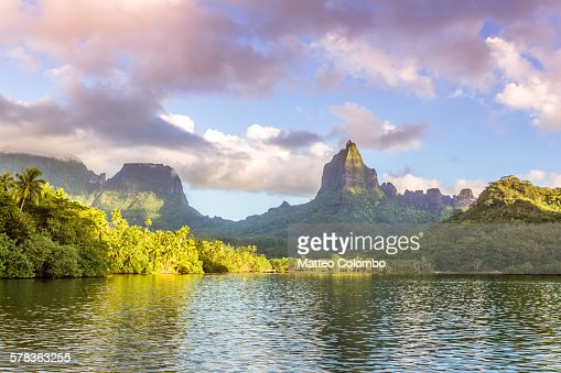 Sunset over Opunohu bay, Moorea, Polynesia