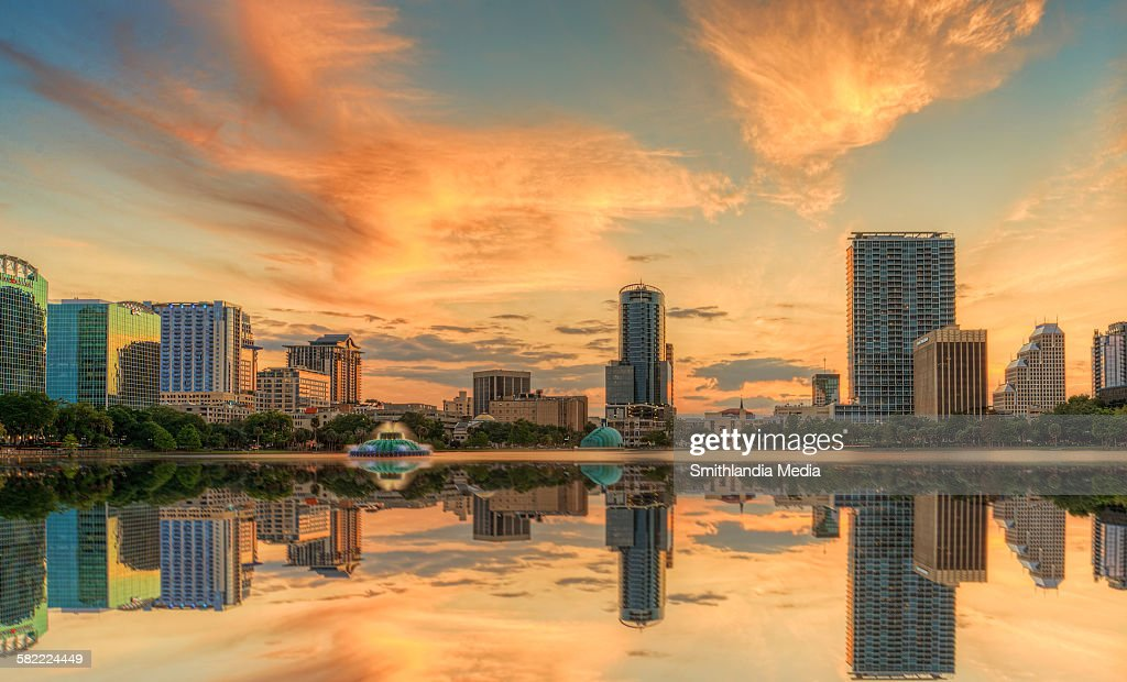 Sunset over Orlando at Lake Eola