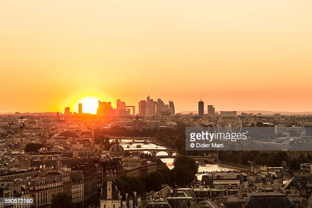 Sunset over Paris in France