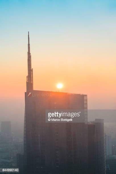 Sunset over Porta Nuova financial district. Milan, Italy.