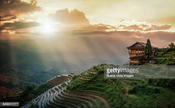 sunset over  Rice Terraces.  Longsheng,