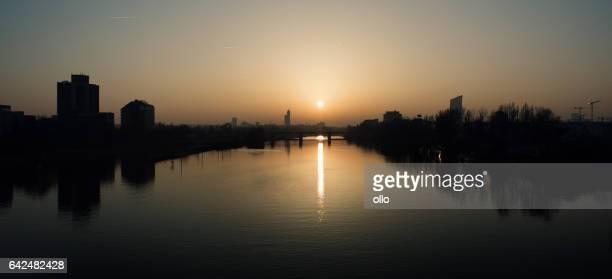 Sunset over River Main, Frankfurt - Germany